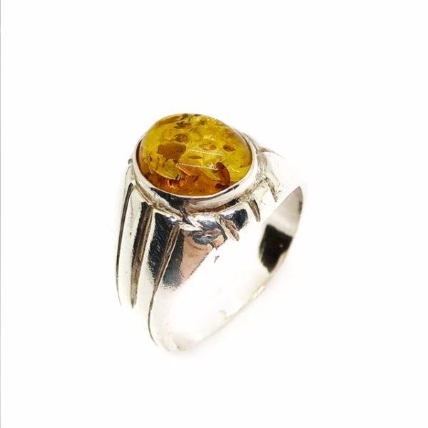 Cognac Amber Sterling Silver Ring For Men
