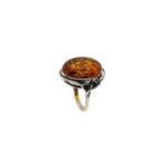 Cognac Amber Sterling Silver Handmade Ring