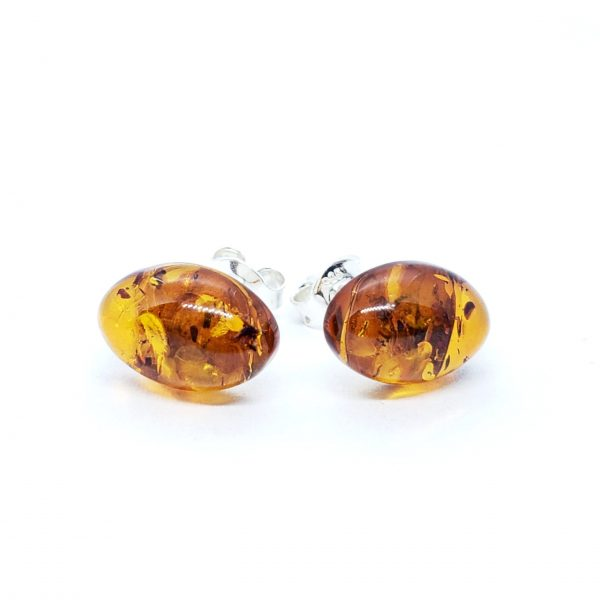 Cognac Amber Sterling Silver Stud Earrings