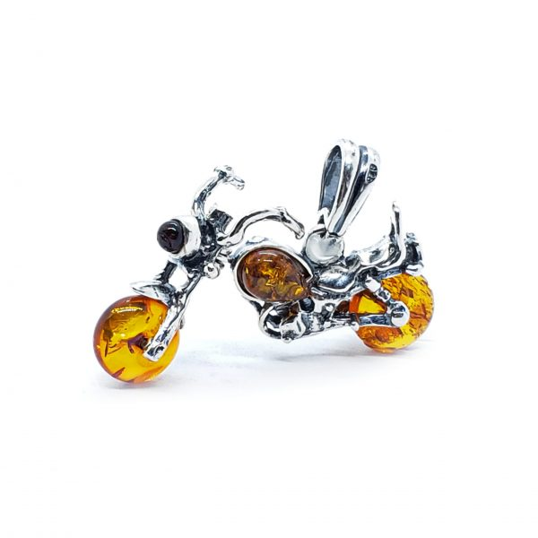 "Cognac Amber Sterling Silver ""Motorcycle"" Pendant"