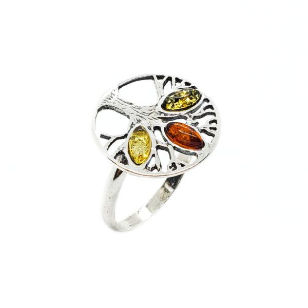 Multi Color Amber .925 Silver Tree Of Life Ring