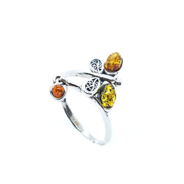 Multi Color Amber Adjustable Butterfly Ring