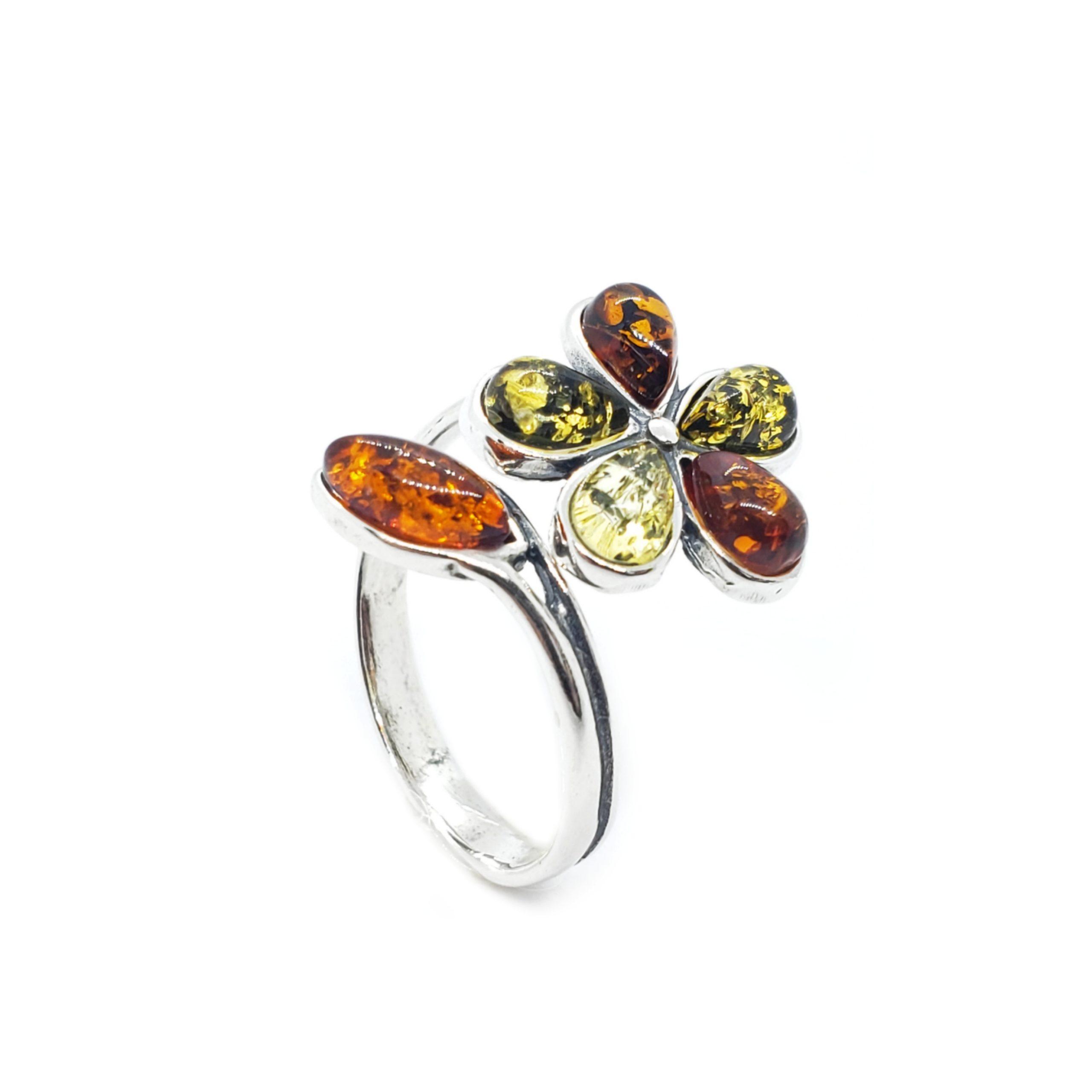 Multi Color Amber Adjustable Flower Ring