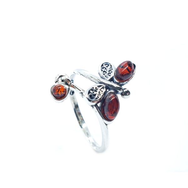 Cognac Amber Adjustable Butterfly Ring