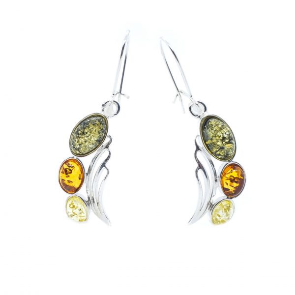 Multi Color Amber Sterling Silver Hook Earrings