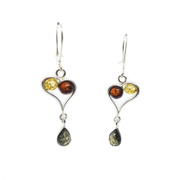 Multi Color Amber Sterling Earrings Hook Earrings