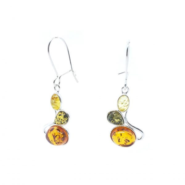 Multi Color Amber Sterling Silver Earrings