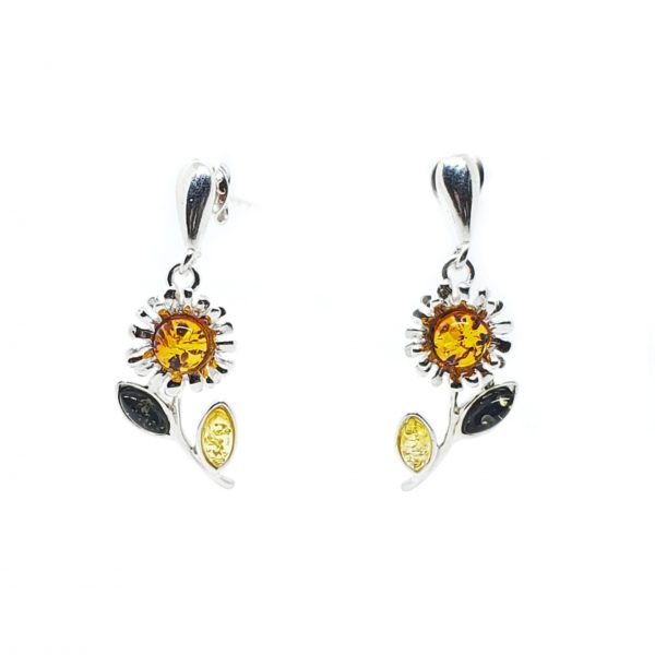 "Multi Color Amber Post Dangle ""Flower"" Earrings"