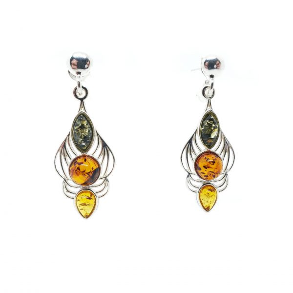 Multi Color Amber Sterling Silver Post Dangle Earrings