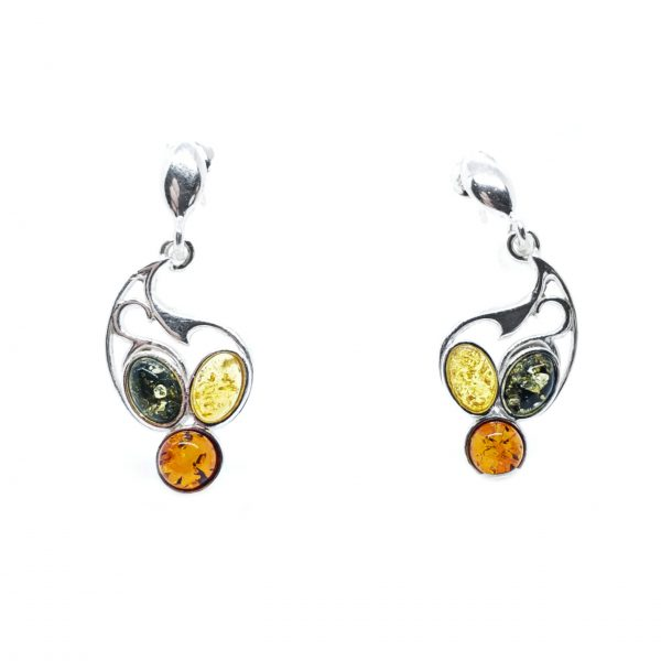 Multi Color Amber Post Dangle Earrings