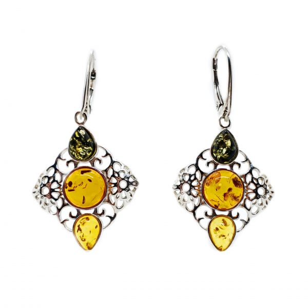 Multi Color Amber Filigree Silver Earrings