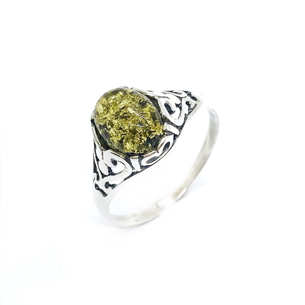 Green Amber Sterling Silver Ring