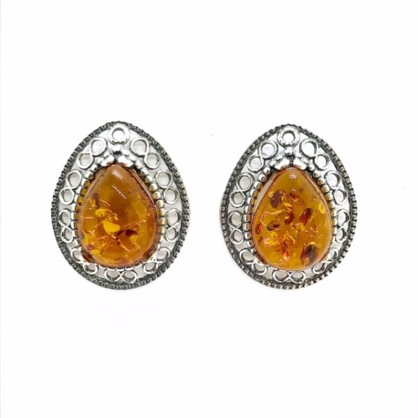 Cognac Amber .925 Silver Stud Earrings