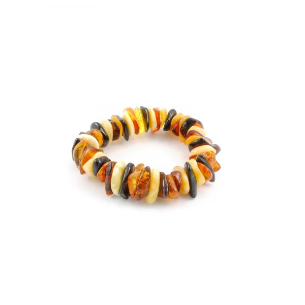 Multi Color Raw Amber Stretch Bracelet