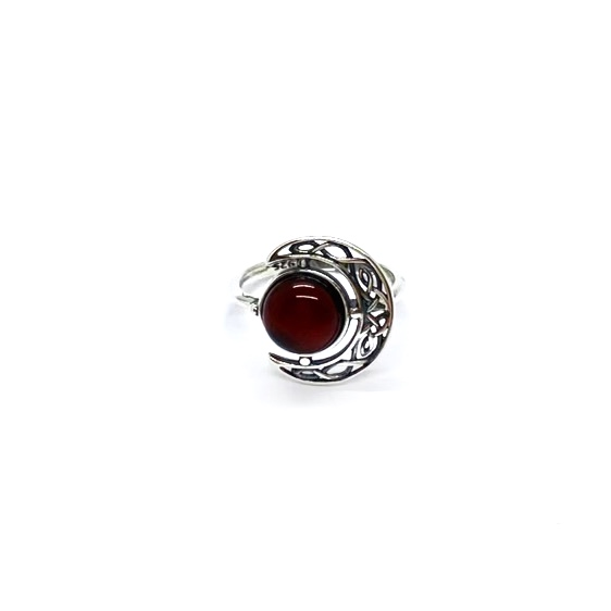 Cherry Amber Sterling Moon Ring