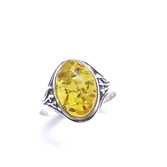 Cognac Amber .925 Sterling Silver Ring