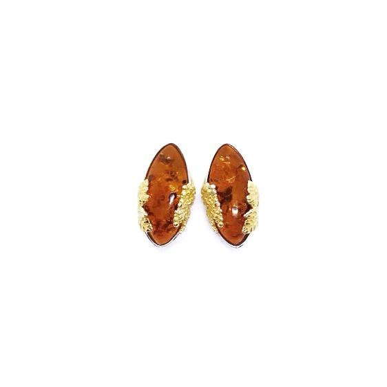 "Cognac Amber ""Grape' Stud Earrings"