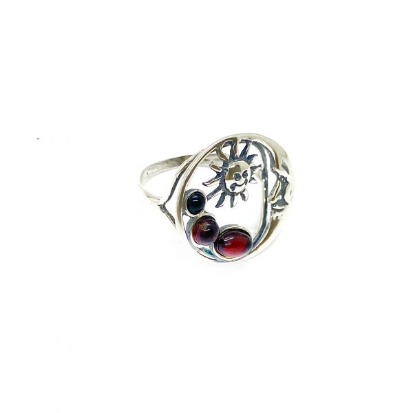 """Cherry Amber """"Sun And Moon"""" Ring"""