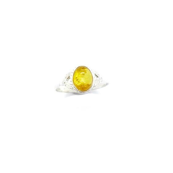 Citrine Amber Srerling Silver Ring. Oval-shape amber stone set in sterling silver