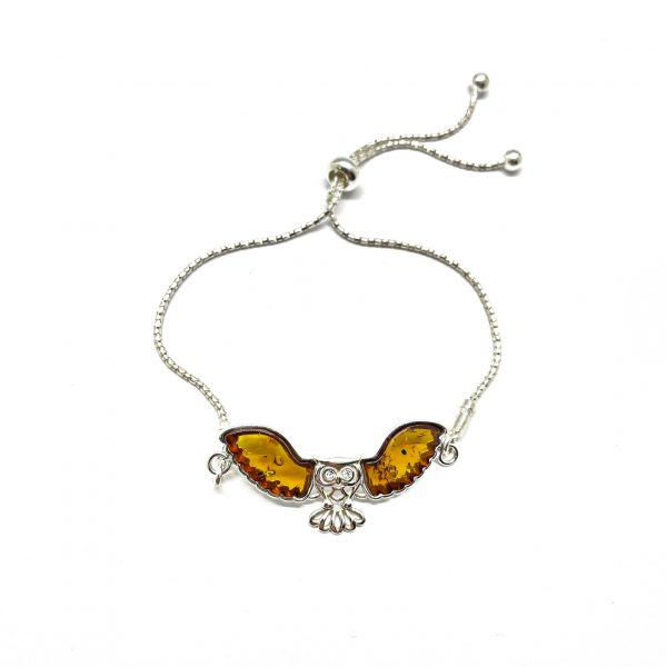 Cognac Amber Owl Slider Bracelet
