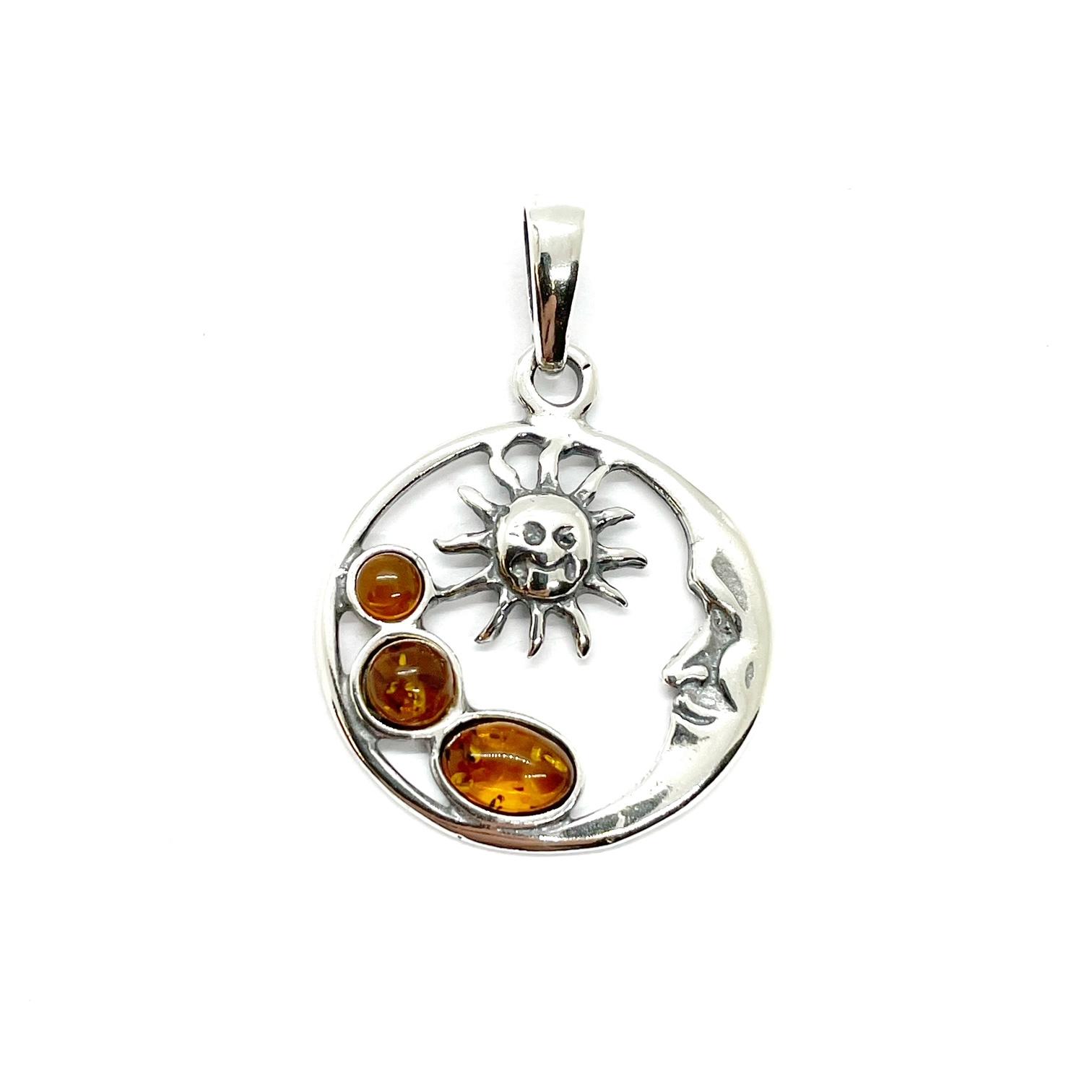 "Cognac Amber ""Sun And Moon"" Pendant"