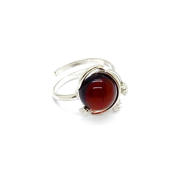 Cherry Amber Sterling Silver Adjustable Ring