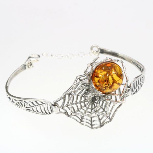 Cognac Amber Spider on Cobweb Cuff Bracelet