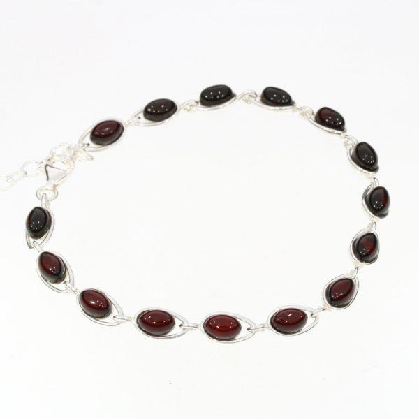Cherry Amber Sterling Silver Link Bracelet