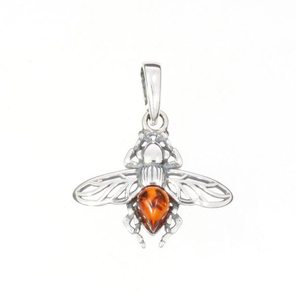 Cognac Amber Sterling Silver Bee Pendant