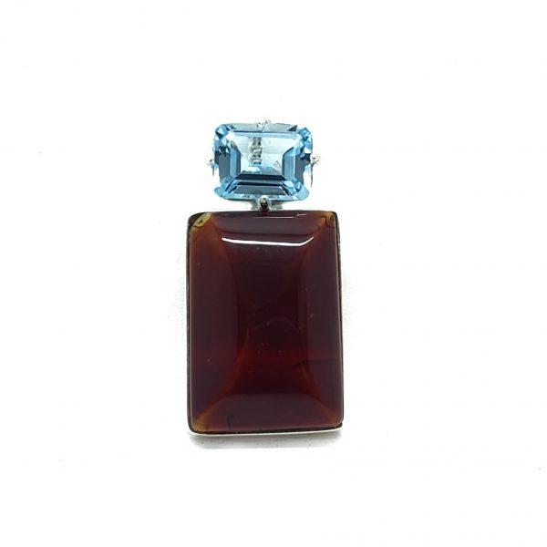 Cherry Amber/Blue Topaz Pendant