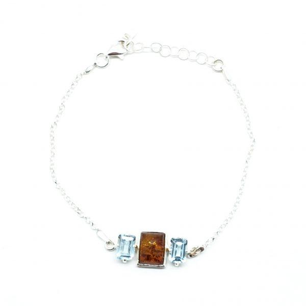 Cognac Amber/Blue Topaz Chain Bracelet