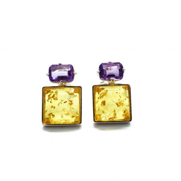 Citirine Amber/Amethyst Stud Earrings