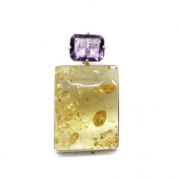 Citrine Amber/Amethyst Pendant