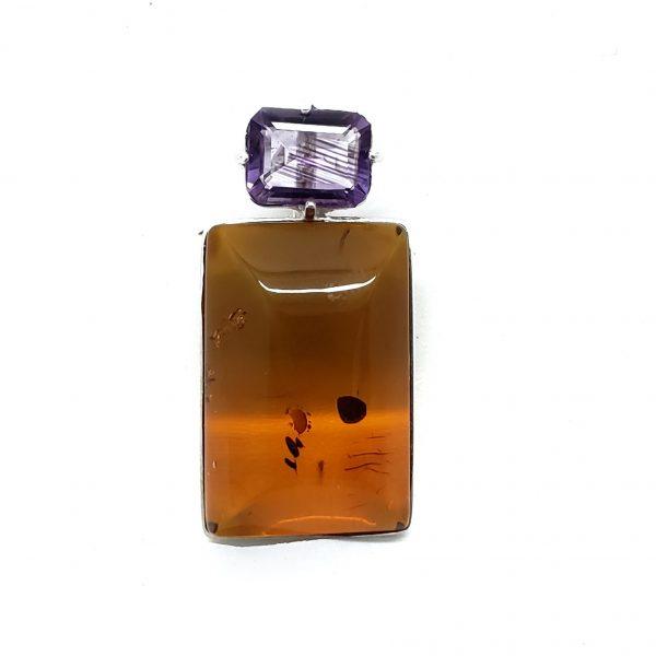 Cognac Amber/Amethyst Pendan