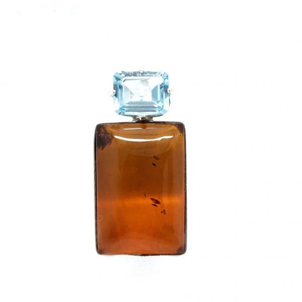Cognac Amber/Blue Topaz Pendant