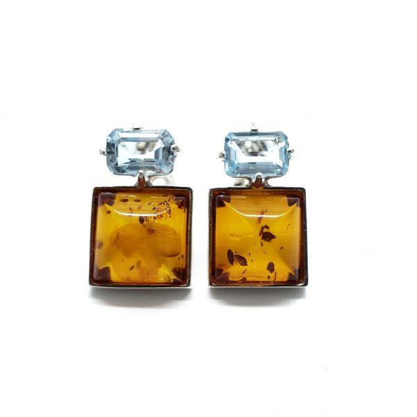 Cognac Amber/Blue Topaz Stud Earrings