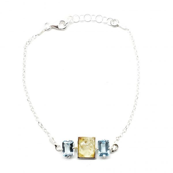 Citirine Amber/Blue Topaz Chain Bracelet