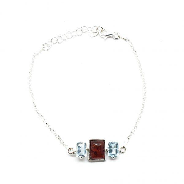 Cherry Amber/Blue Topaz Chain Bracelet