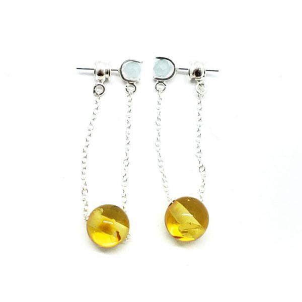 Citrine Amber/Moonstone Post Dangle Earrings