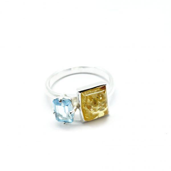 Citrine Amber/Blue Topaz Adjustable Ring