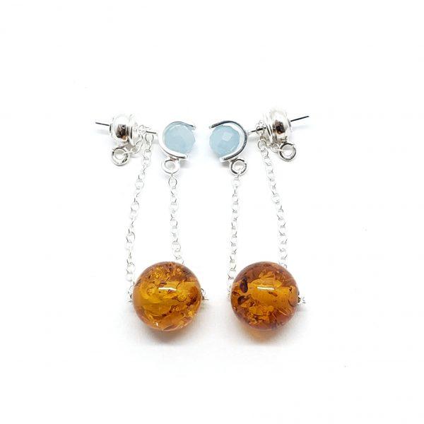 Cognac Amber/Moonstone Post Dangle Earrings