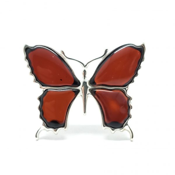 Cherry Amber Butterfly Adjustable Ring