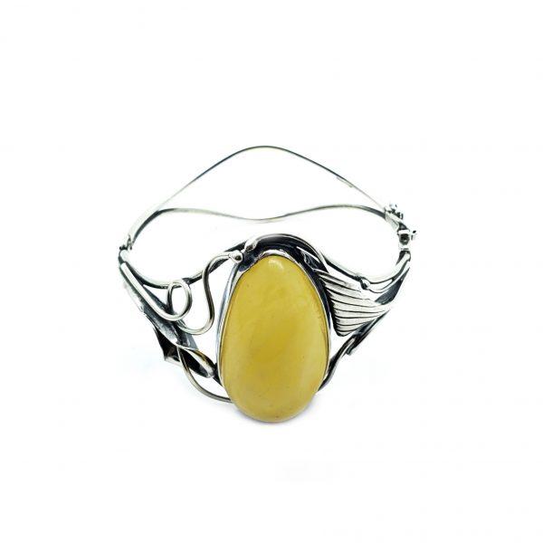Butterscotch Amber .925 Silver Handmade Cuff Bracelet