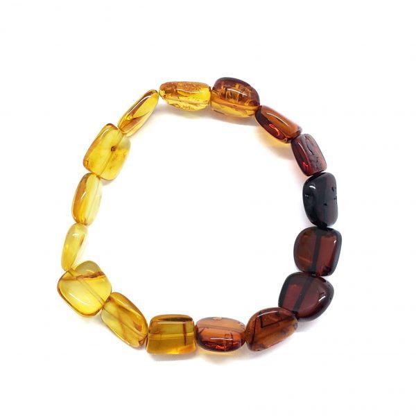 "Multi Color Amber ""Rainbow"" Stretch Bracelet"
