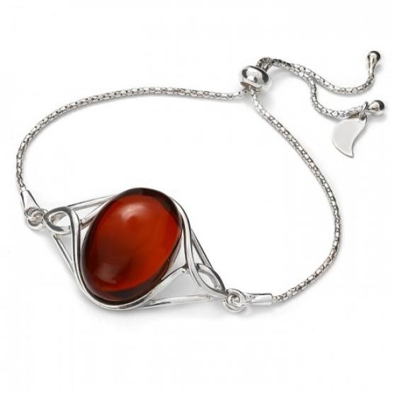Cherry Amber .925 Silver Slider Bracelet