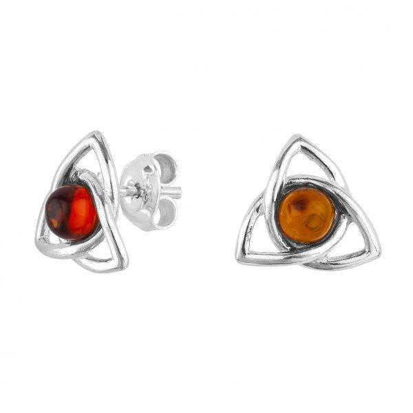 Celtic-Style Amber Stud Earrings