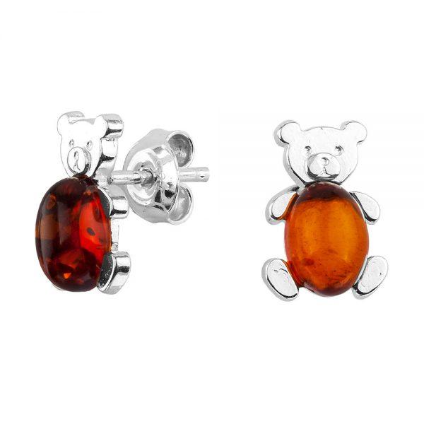 Cognac Bears Amber Stud Earrings