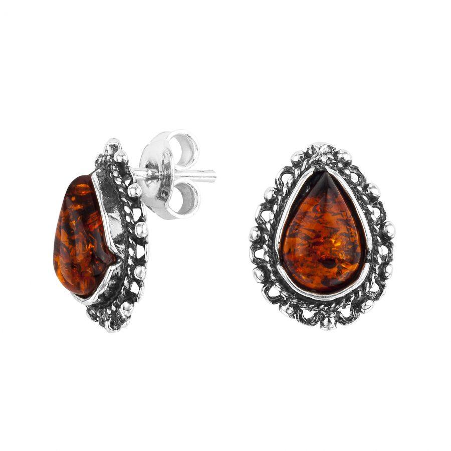 Cognac Amber Teardrop-Shape Stud Earrings