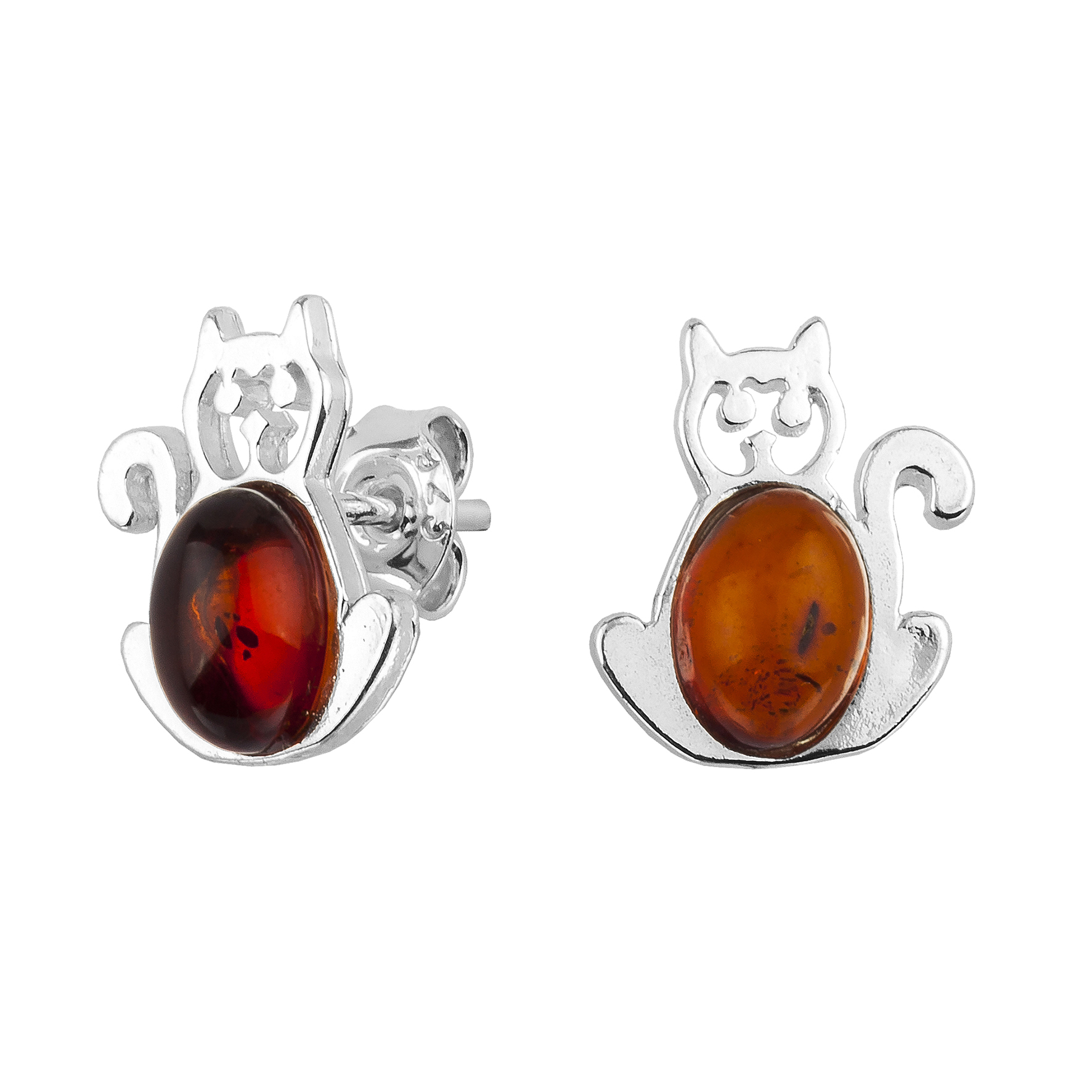 Cognac Cats Amber Stud Earrings