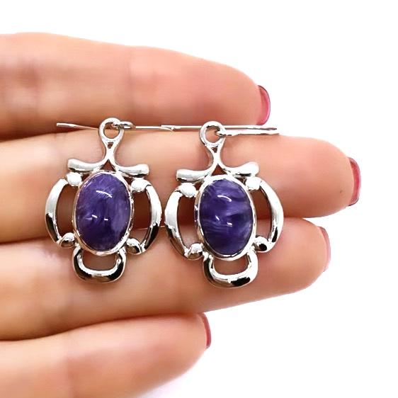 Charoite Dangle Earrings On Silver Hooks